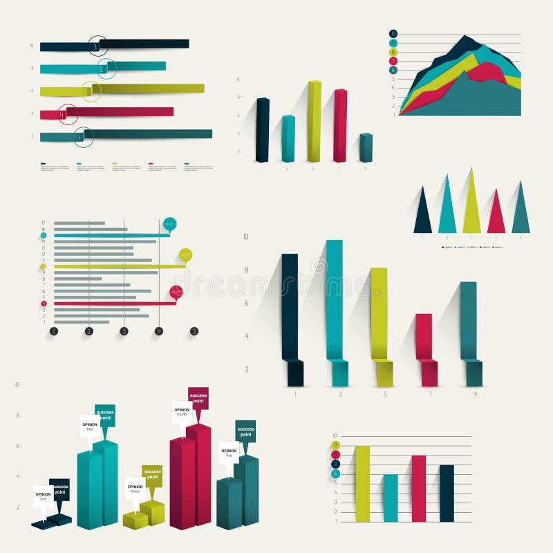 Set of business flat, 3D design graph. vector illustration