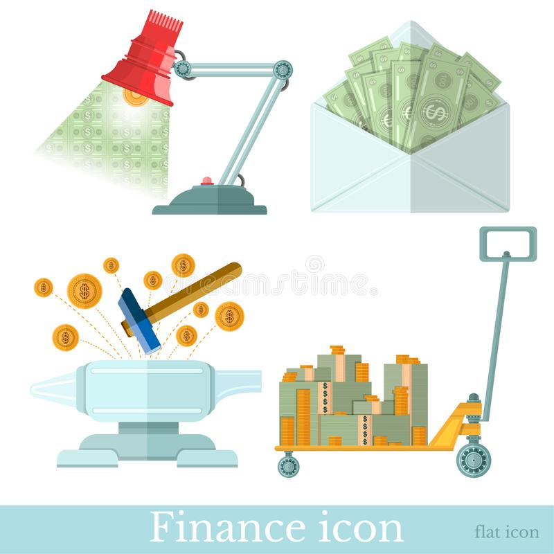 Set of business flat icons on white. envelope with banknotes, hammer beat on the anvil money fly out, wheelbarrow with banknotes royalty free illustration