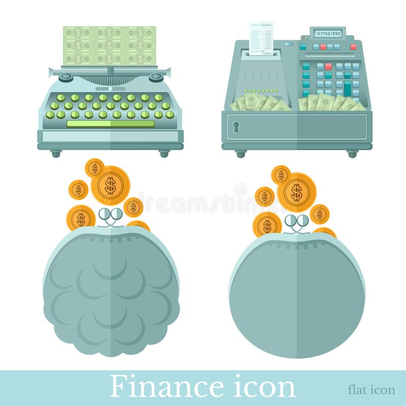 Set of business flat icons on white. Pouch with gold coins, typewriter makes money and cashbox with banknotes royalty free illustration