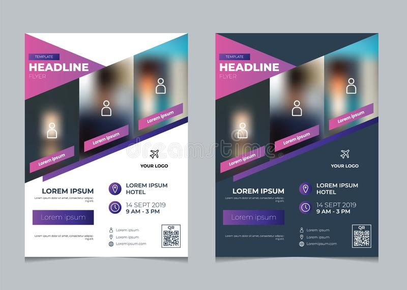 Set of business flyer template, event poster, brochure design template layour with geometric purple gradient. Set of business flyer template vector, multipurpose stock illustration