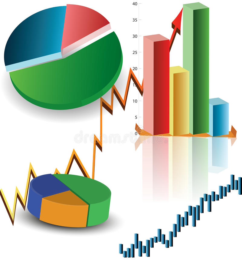 SET OF BUSINESS GRAPHS stock image