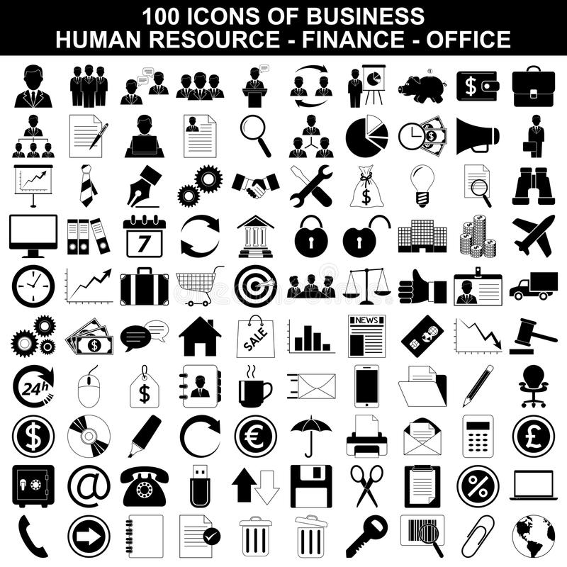 Set of business icons, human resource, finance vector illustration