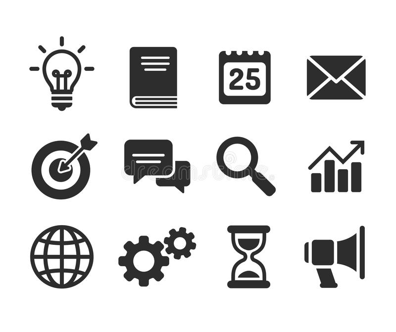 Set of business icons. Simple and clean modern vector style. Business symbols and metaphors stock illustration