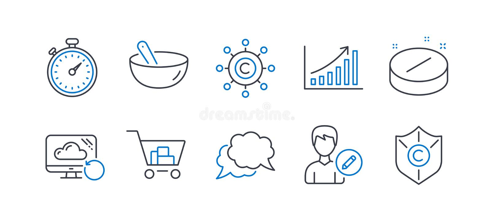 Set of Business icons, such as Cooking mix, Medical tablet, Timer. Vector. Set of Business icons, such as Cooking mix, Medical tablet, Timer, Chat message vector illustration