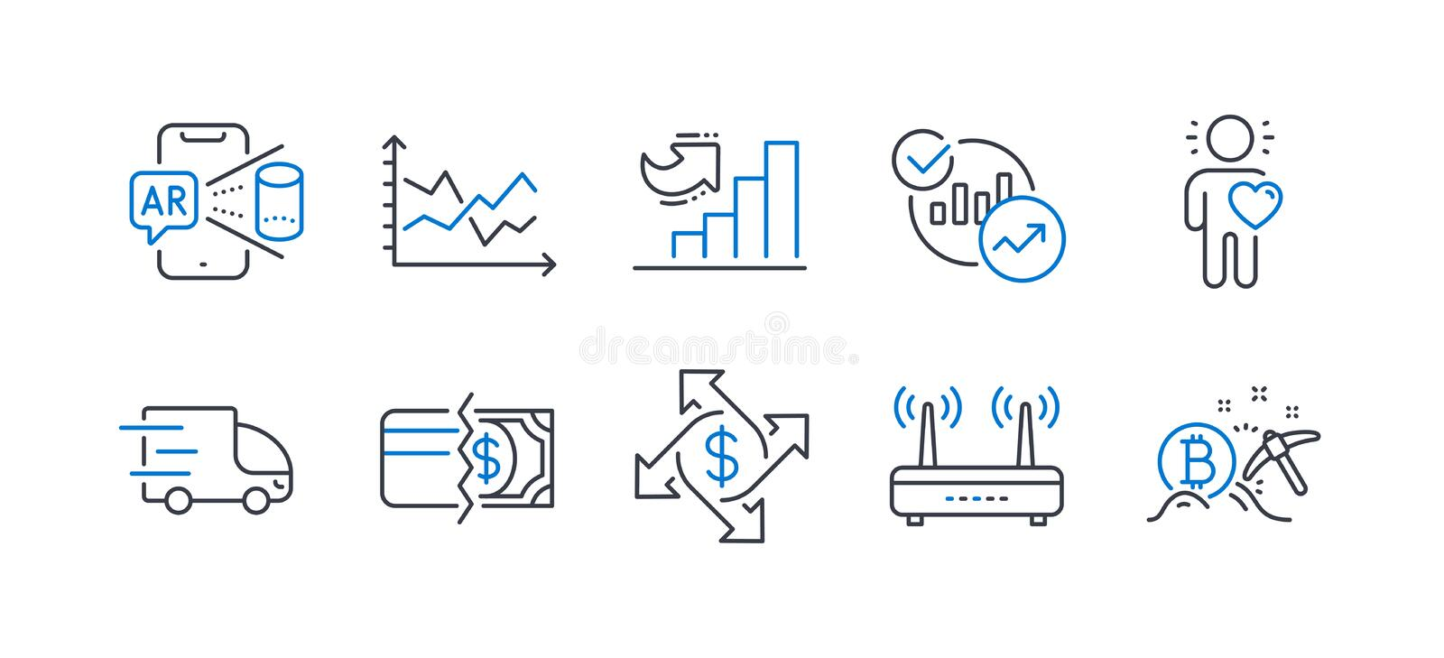 Set of Business icons, such as Statistics, Augmented reality, Payment methods. Vector. Set of Business icons, such as Statistics, Augmented reality, Payment royalty free illustration