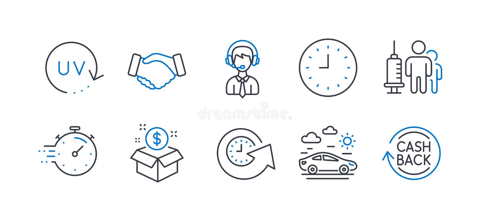 Set of Business icons, such as Update time, Timer, Car travel 矢量 向量例证