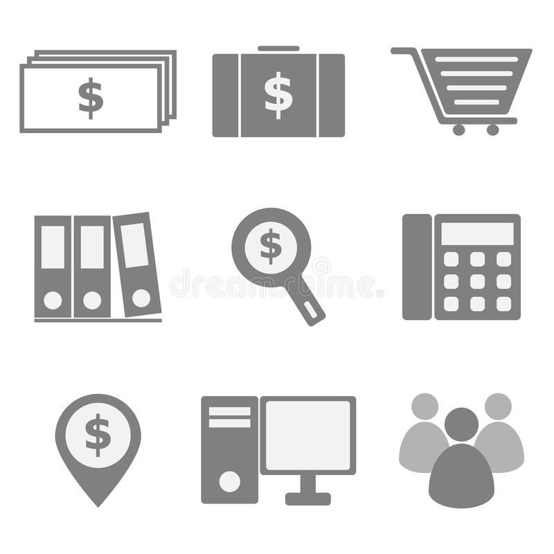 Set of business icons on white background