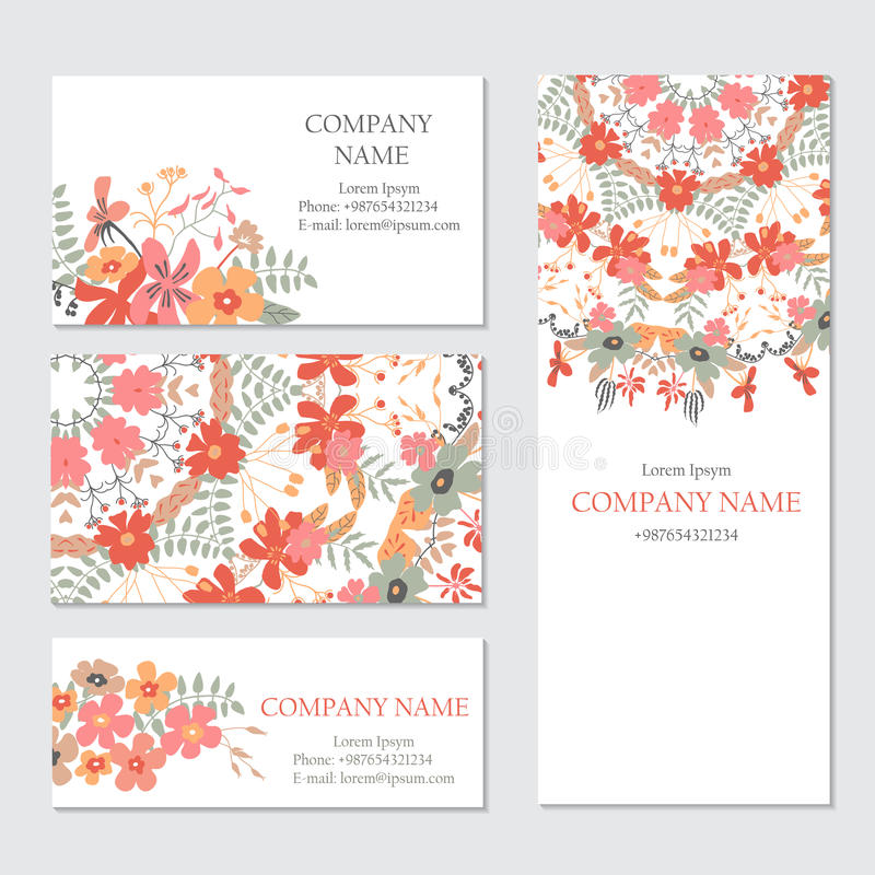 Set of business or invitation cards templates, corporate identity templates vector illustration