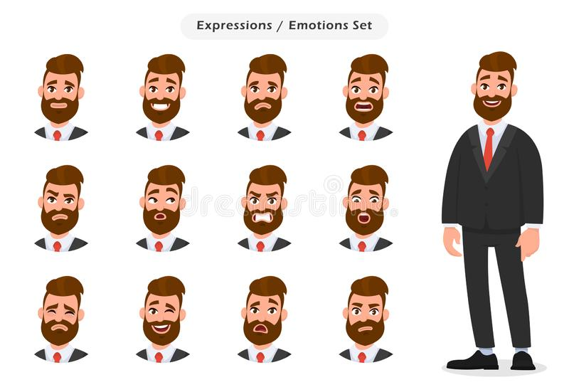 Set of business man`s facial different expressions. Business man emoji character with different emotions. Emotions and body language concept illustration in royalty free illustration
