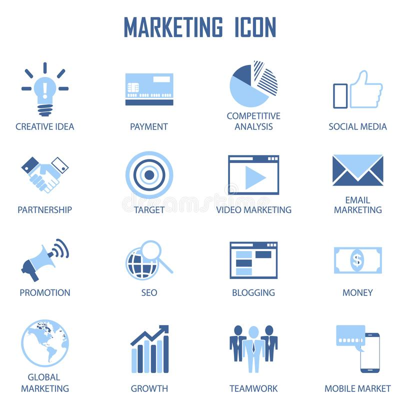 Set Business Marketing Strategy Payment Social media Creative Related Vector flat Icons stock illustrationer
