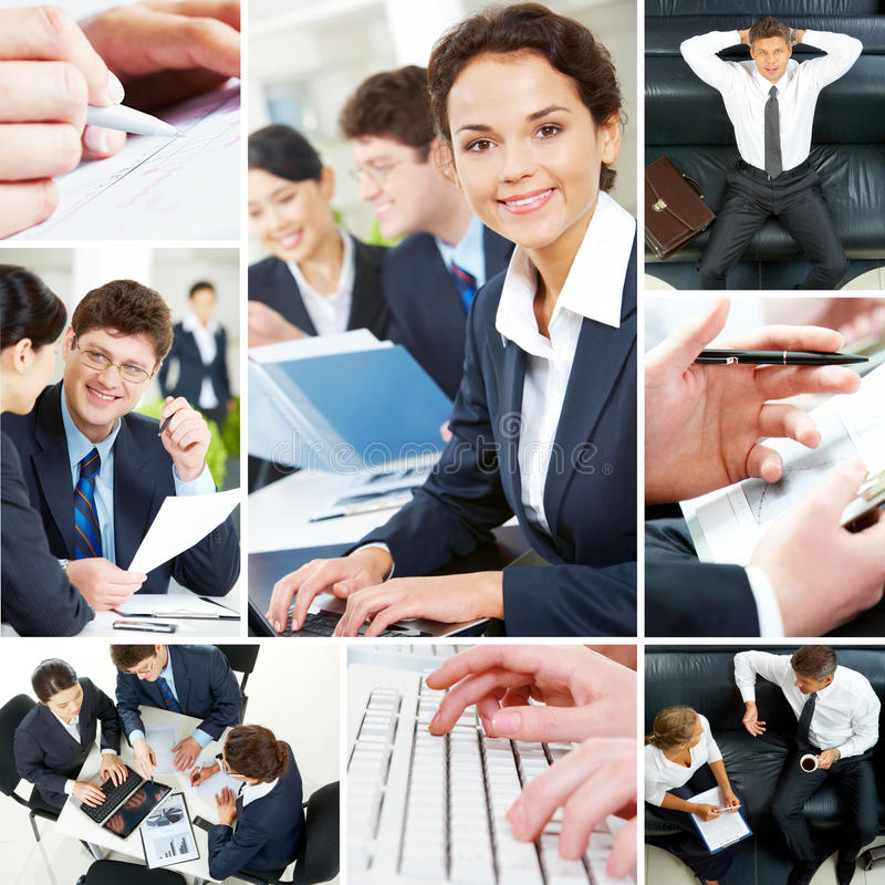 Set of business people. Set of image with business people during work stock photo