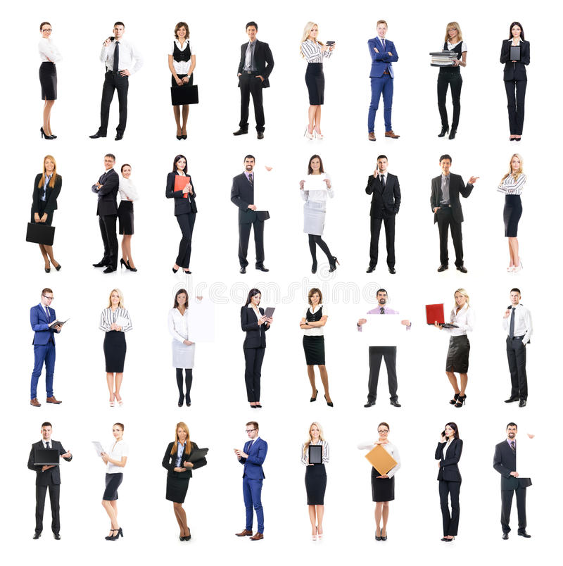 Set of business people isolated on white stock photo