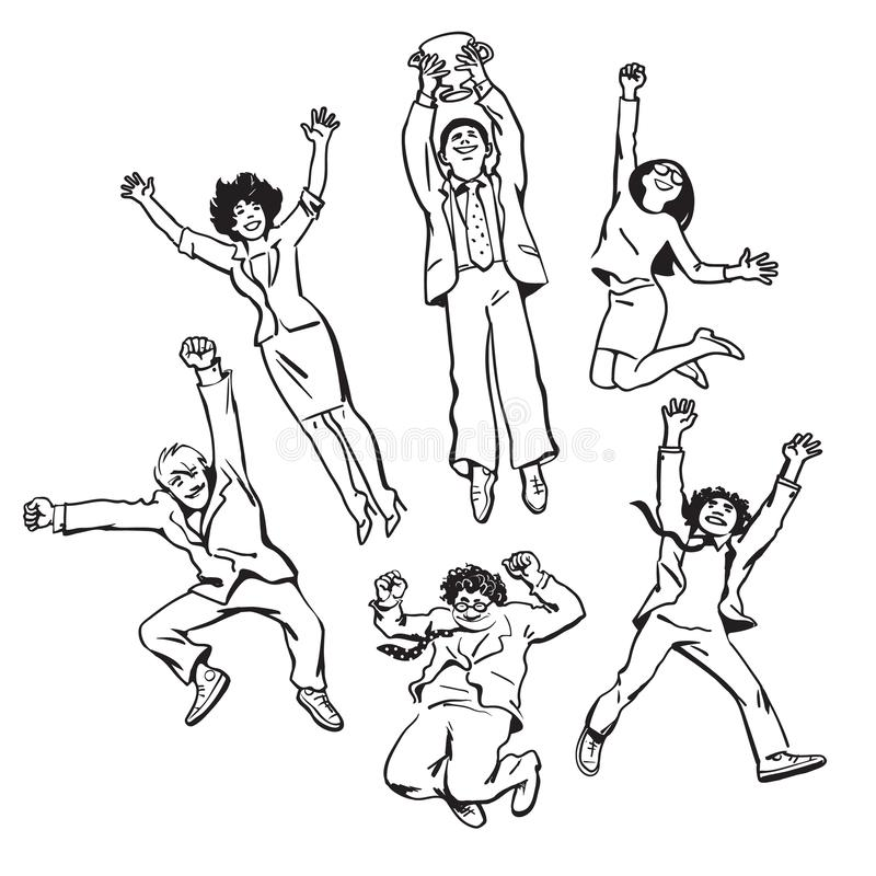 Set of business people men and women jumping for joy holding up winning cup. Team celebrate their success. Vector. Set of business people men and women jumping stock illustration