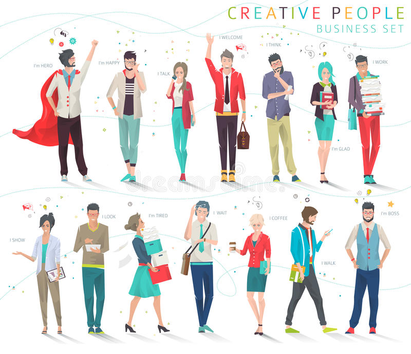 Set of business people. Modern illustration / Set of business people with different actions, feelings and emotions / creative men and women / office team / can royalty free illustration