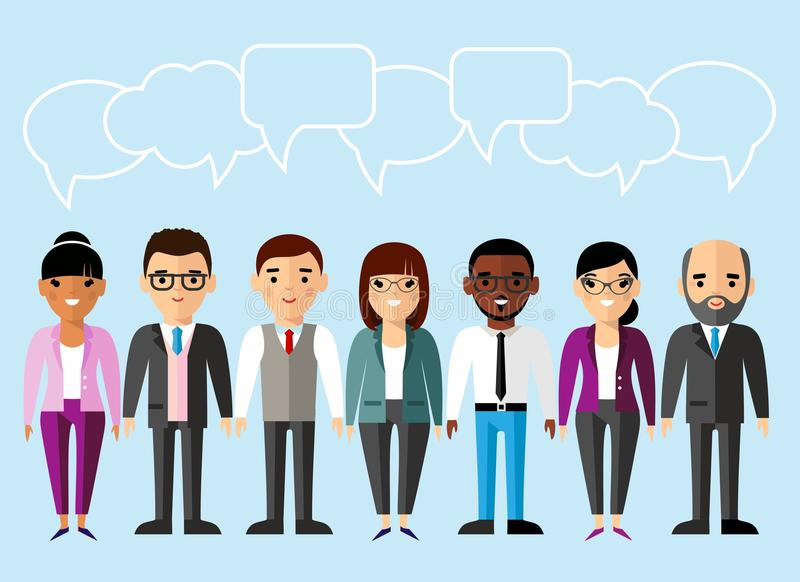 Set of business peoples in flat colorful style royalty free illustration