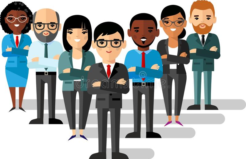 Set of business peoples in flat colorful style vector illustration