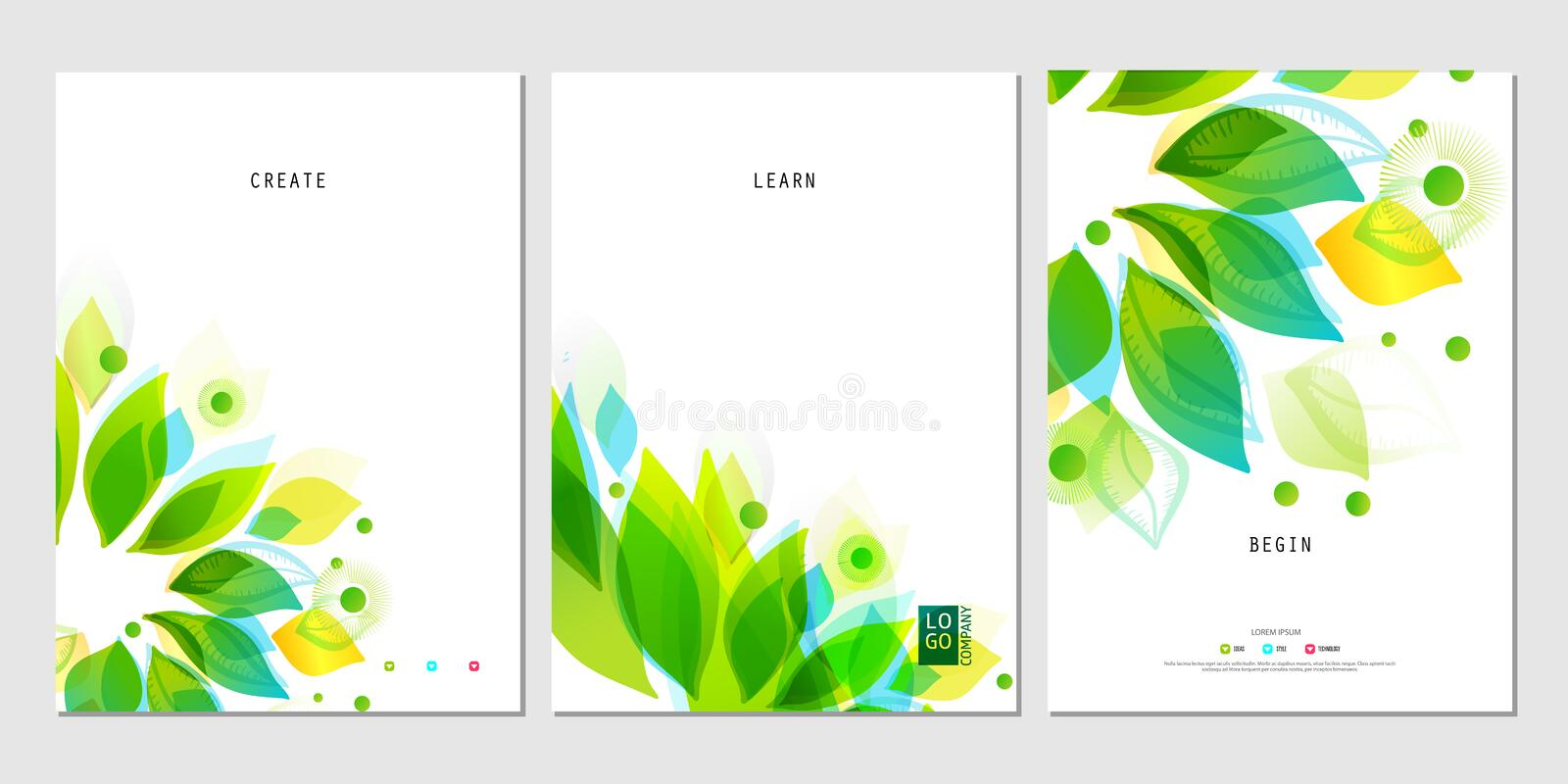 Set of business posters with abstract leaf vector illustration