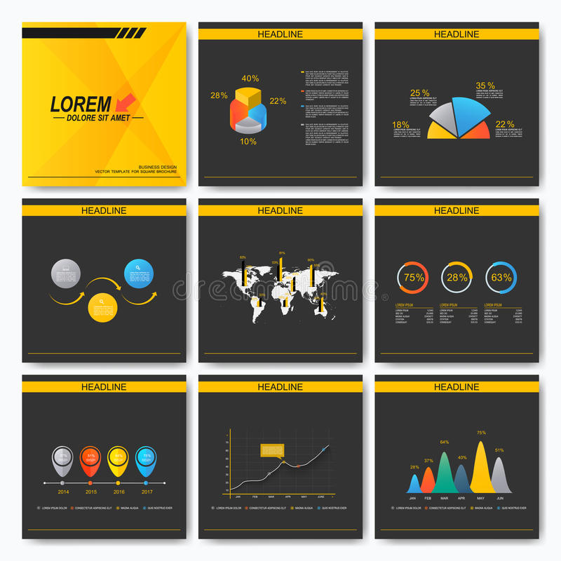 Set of business presentation square template brochure. Cover layout design. Infographics concept. Black and yellow royalty free illustration