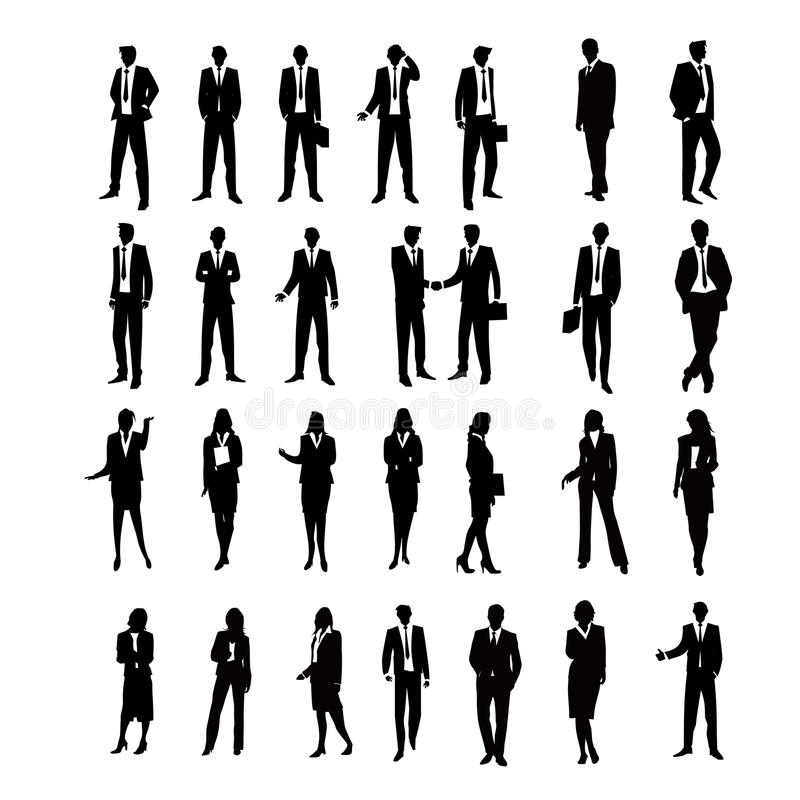 Set Business Silhouettes vector illustration