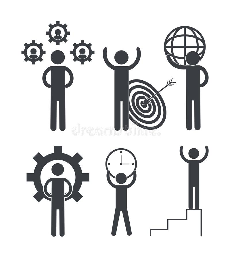 Set business teamwork with gears and graphic stock illustration