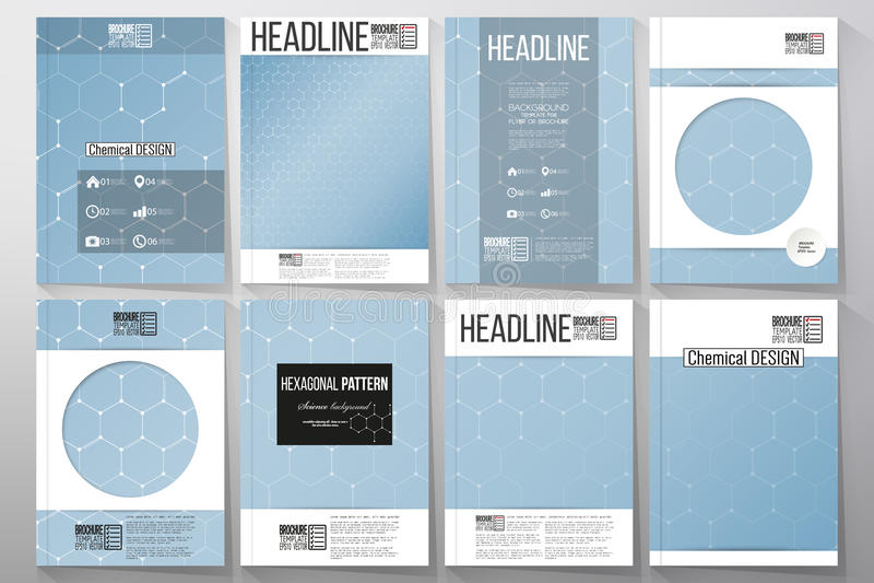 Set of business templates for brochure, flyer or booklet. Chemistry pattern, hexagonal design vector illustration royalty free illustration