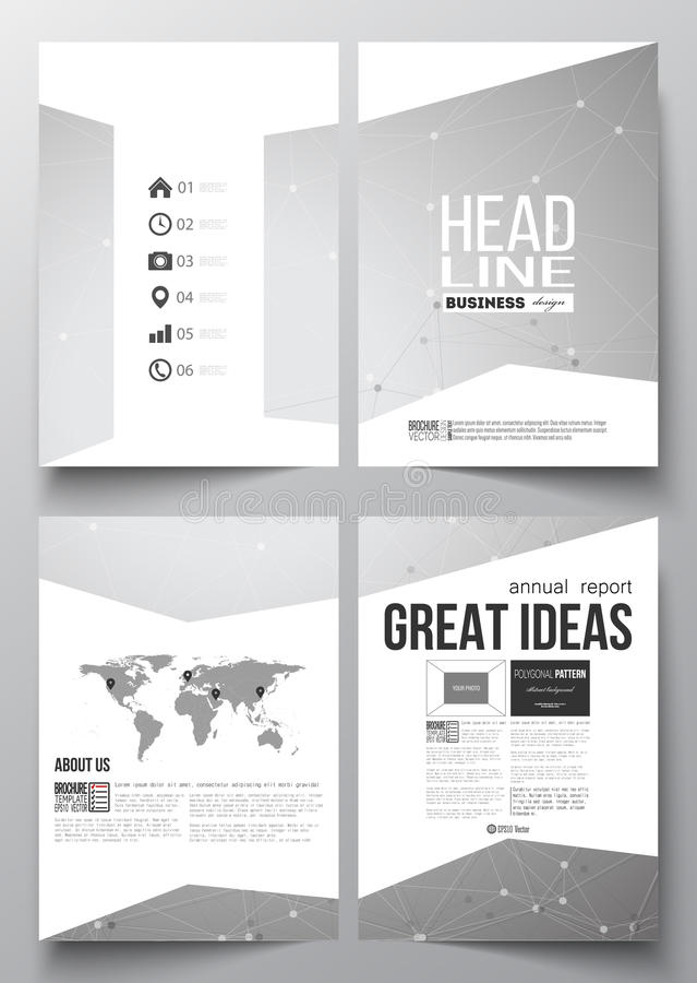 Set of business templates for brochure, magazine, flyer, booklet or annual report. Molecular construction with connected. Lines and dots, scientific or digital royalty free illustration