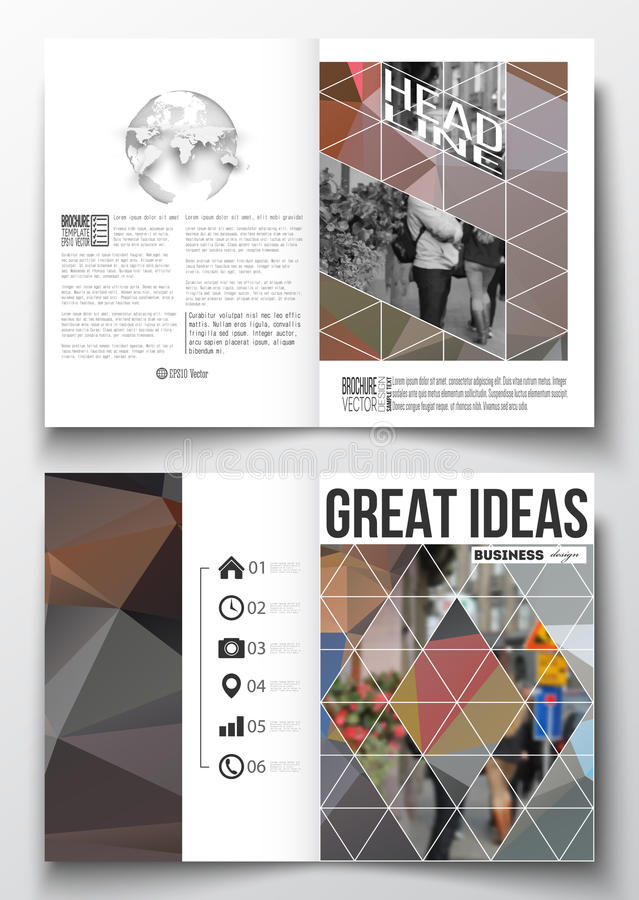 Set of business templates for brochure, magazine, flyer, booklet or annual report. Polygonal background, blurred image. Urban landscape, cityscape, modern vector illustration
