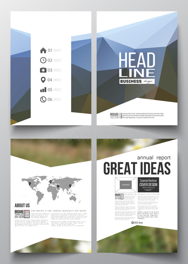 Set of business templates for brochure, magazine, flyer, booklet or annual report. Summer landscape. Colorful polygonal stock illustration