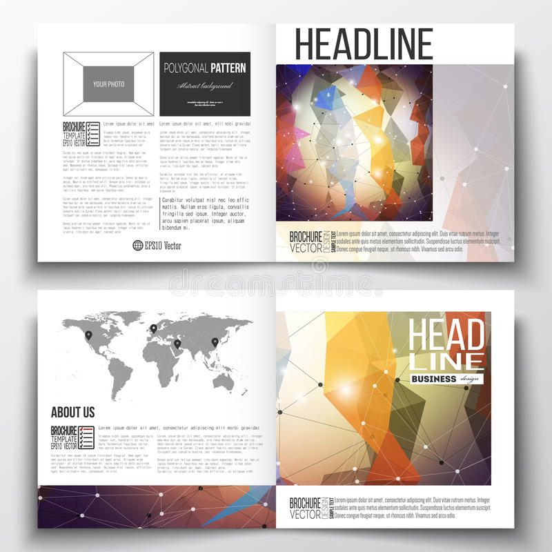 Set of business templates for brochure, magazine, flyer, report. Molecular construction, connected lines and dots. Set of annual report business templates for stock illustration