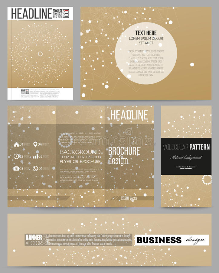 Set of business templates for presentation, brochure, flyer, booklet. Abstract polygonal low poly backdrop, connecting royalty free illustration