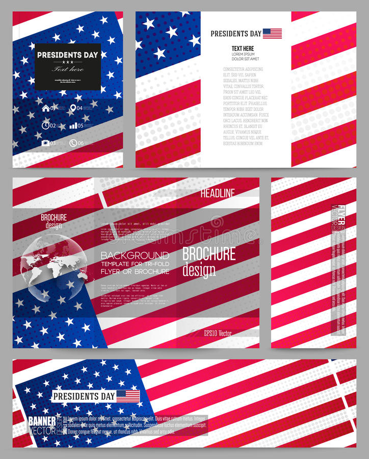 Set of business templates for presentation brochure for America brochure template
