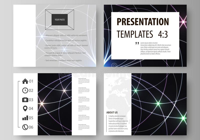 Set of business templates for presentation slides. Easy editable abstract vector layouts in flat design. Sacred geometry stock illustration