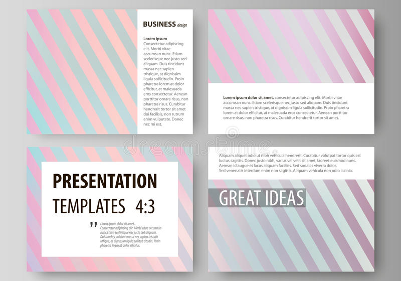 Set of business templates for presentation slides. Easy editable abstract vector. Layouts in flat design. Sweet pink and blue decoration, pretty romantic design stock illustration
