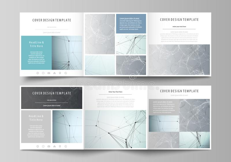 Set of business templates for tri fold square design brochures. Leaflet cover, abstract vector layout. Chemistry pattern. Set of business templates for tri fold royalty free illustration