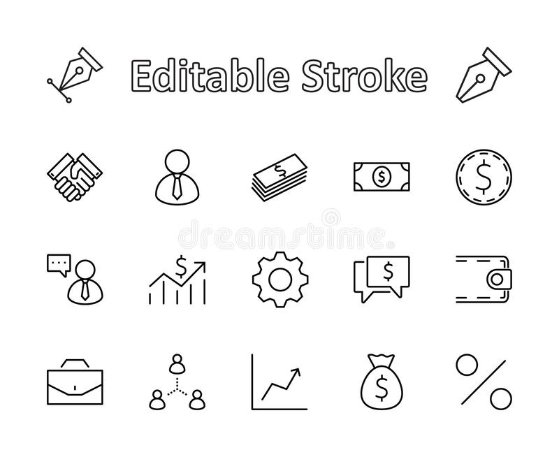 Set of business vector line icons. It contains symbols of a handshake, a user, dollar pictograms, gears, a briefcase, a bag of mon royalty free stock photo