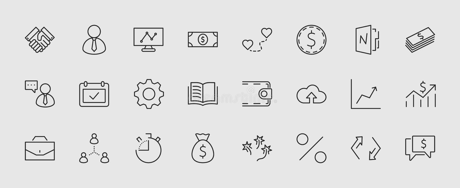 Set of business vector line icons. It contains symbols of a handshake, a user, dollar pictograms, gears, a briefcase, a vector illustration