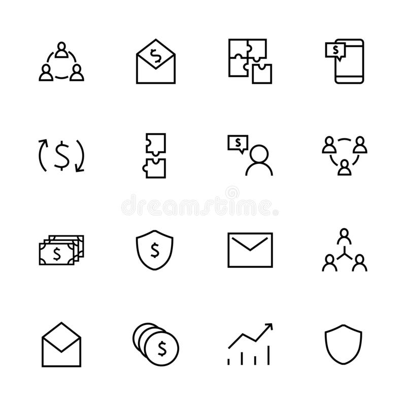 Set of business vector line icons. It contains user symbols, dollar pictograms, puzzles, ... an envelope, messages. Money coins, turnover, robot shield royalty free illustration