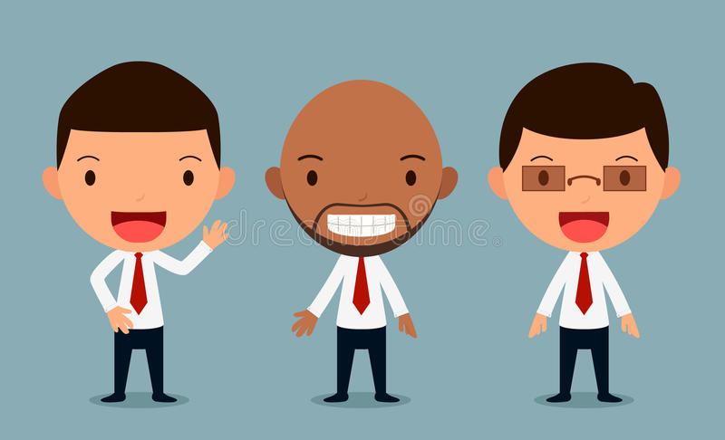 Set of businessman characters poses , office worker, form royalty free stock image
