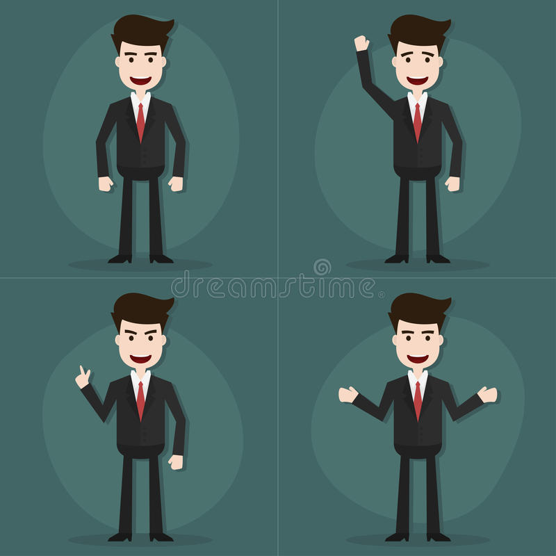 Set of businessman characters poses. Set of businessman characters poses,Vector EPS10 royalty free illustration