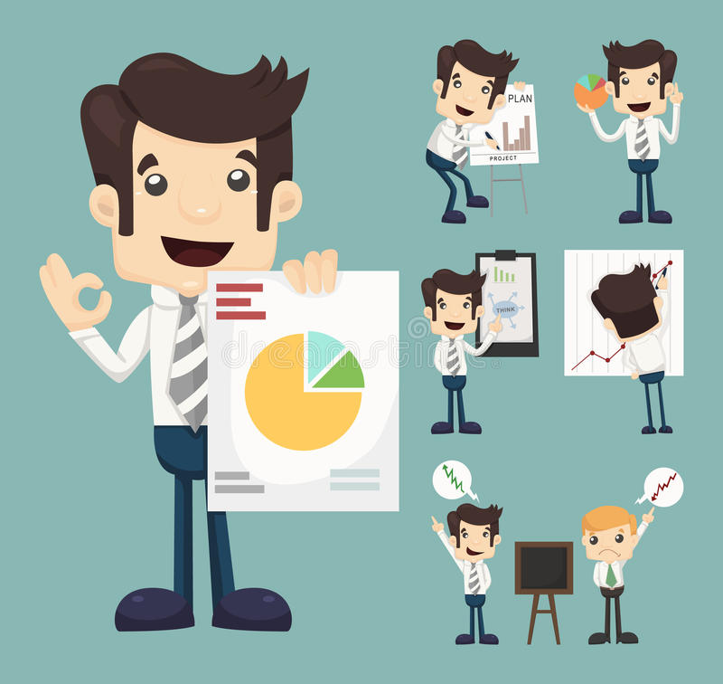 Set of businessman characters presentation graph. Eps10 vector format