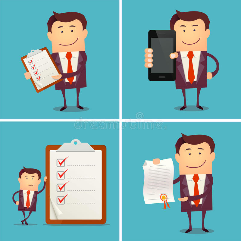 Set of businessman characters showing: smart phone, diploma, clipboard royalty free illustration