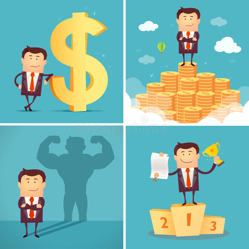 Set of businessman characters. Successful concept. Vector. Set of businessman characters standing on the winning podium holding up winning trophy, standing on royalty free illustration