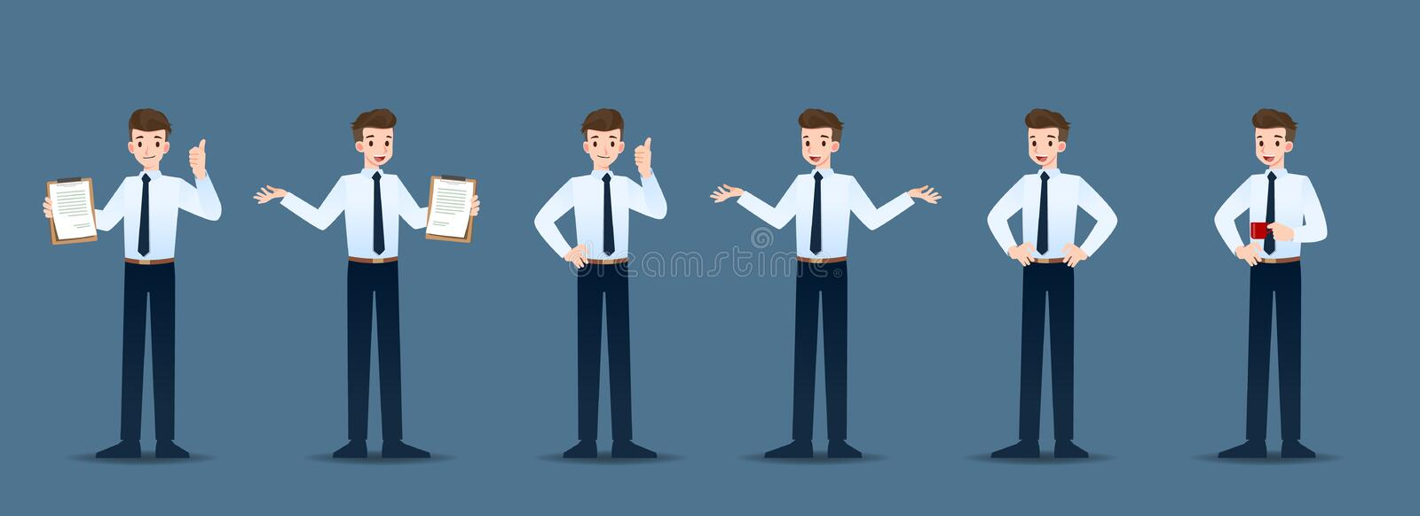 Set of businessman in 6 different gestures. People in business character poses like waiting, communicate and successful. royalty free illustration