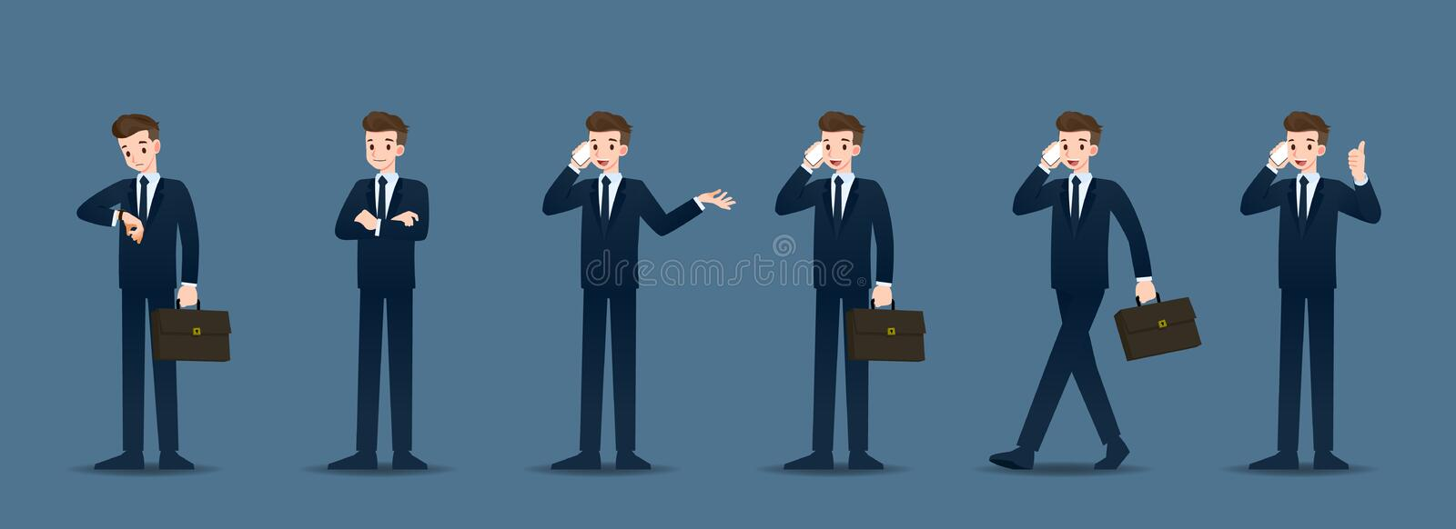 Set of businessman in 6 different gestures. People in business character poses like waiting, communicate and successful. vector illustration