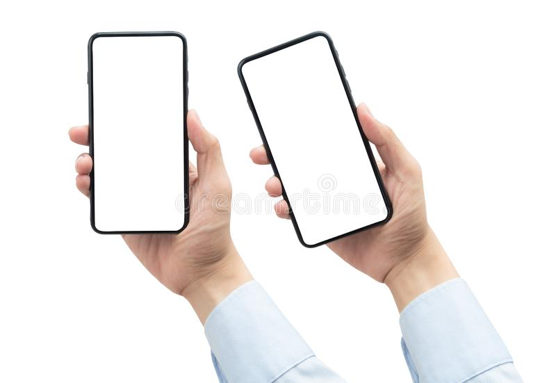 Set of Businessman hand holding the gold smartphone with blank screen isolated on white background with clipping path. royalty free stock image