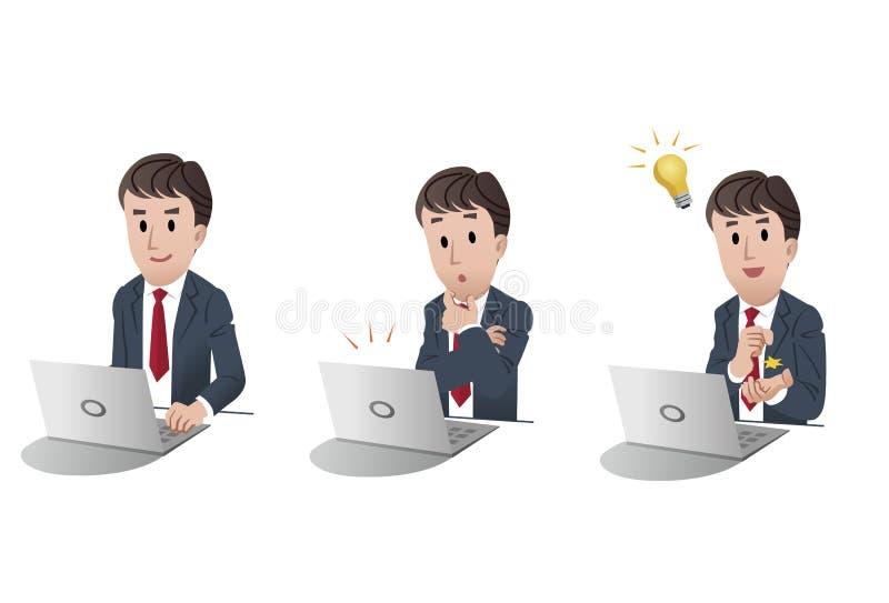 Download Set Of Businessman At Laptop Computer 2 Stock Vector - Image: 26855324