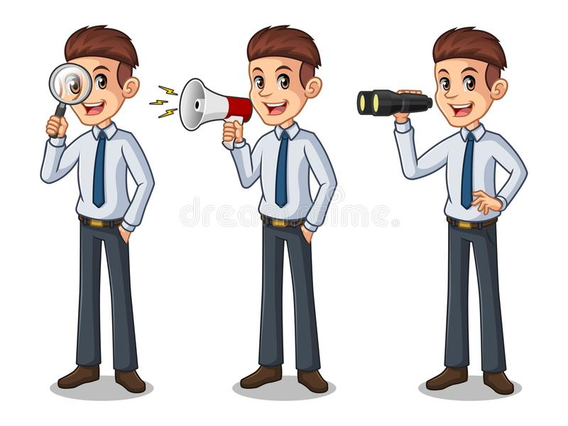 Set of businessman in shirt looking for poses royalty free illustration