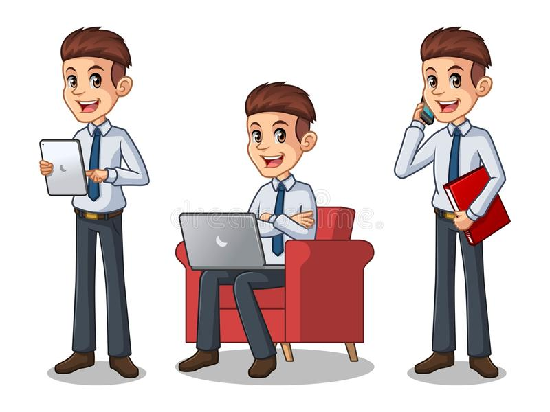 Set of businessman in shirt working on gadgets. Set of businessman in black suit cartoon character design working on gadgets, tablet, laptop computer, and mobile stock illustration