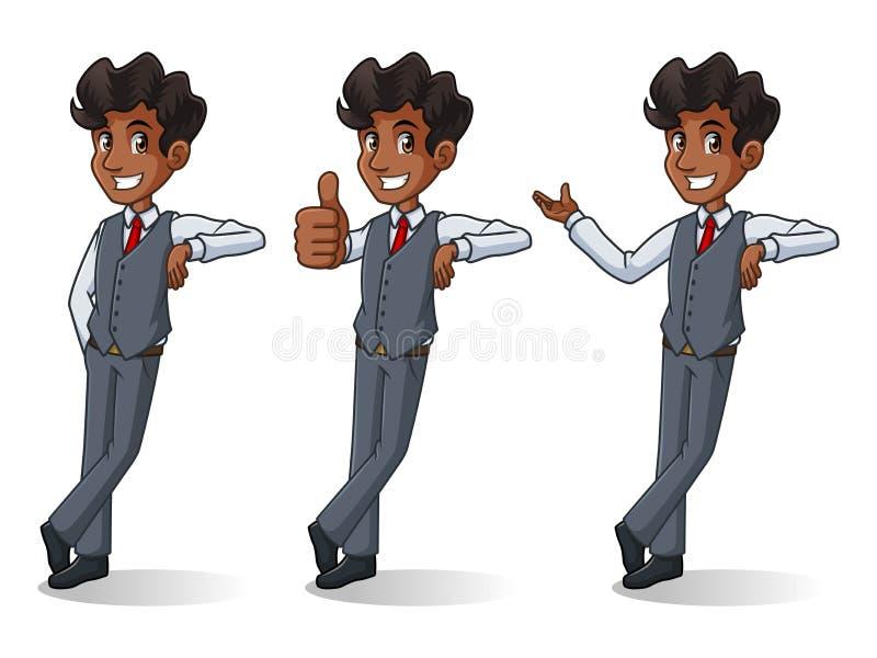 Set of businessman in vest stand leaning against vector illustration