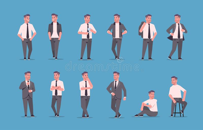 Set businessmen in formal wear standing different poses smiling male cartoon characters business men office workers stock illustration